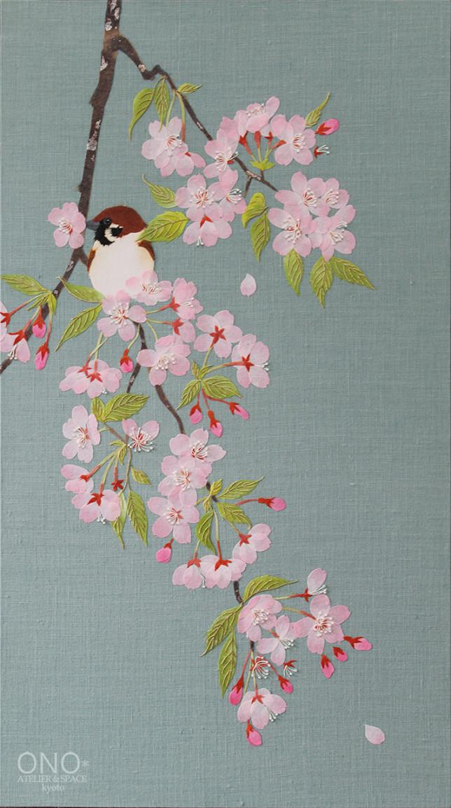 ONO* コラージュ『櫻と雀』
