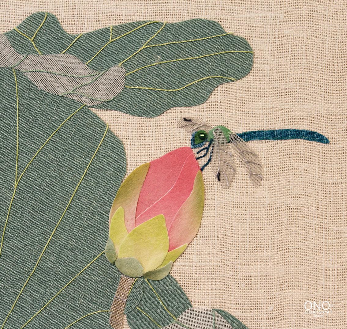 コラージュ作品「蓮と蜻蛉」